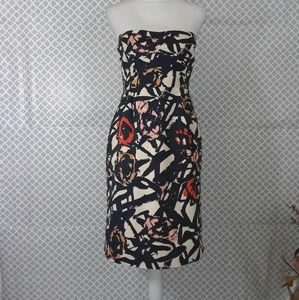 J Crew strapless abstract design dress